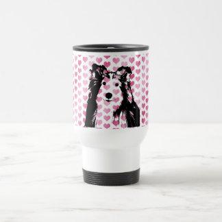 Valentines - Sheltie Silhouette Travel Mug