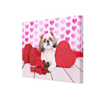Valentines - Shih Tzu - Sophie Stretched Canvas Print
