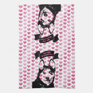 Valentines - Siberian Husky Silhouette Hand Towels