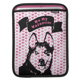 Valentines - Siberian Husky Silhouette Sleeve For iPads