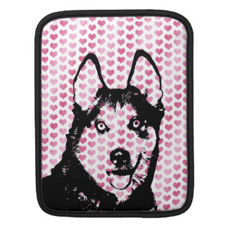 Valentines - Siberian Husky Silhouette Sleeves For iPads