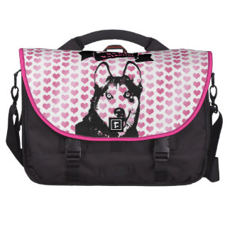 Valentines - Siberian Husky Silhouette Computer Bag