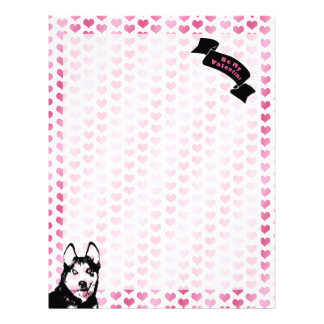 Valentines - Siberian Husky Silhouette Personalized Letterhead