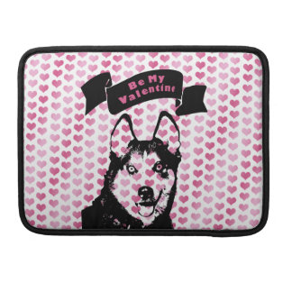 Valentines - Siberian Husky Silhouette Sleeves For MacBooks