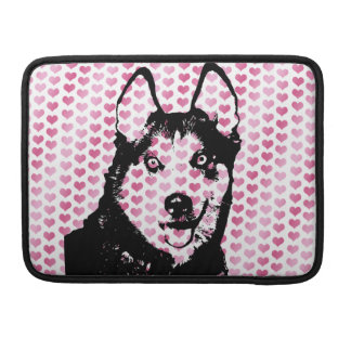 Valentines - Siberian Husky Silhouette Sleeves For MacBook Pro