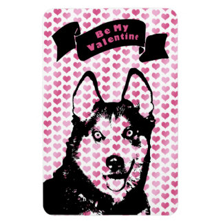 Valentines - Siberian Husky Silhouette Magnet