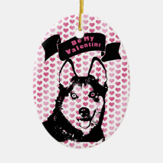 Valentines - Siberian Husky Silhouette Christmas Ornaments