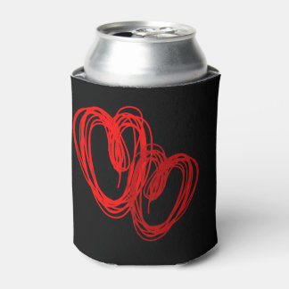 Valentine's Sketched Hearts BLK - Customize Can Cooler