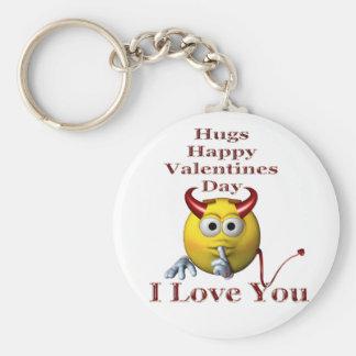 Valentines smiley face devil male basic round button keychain