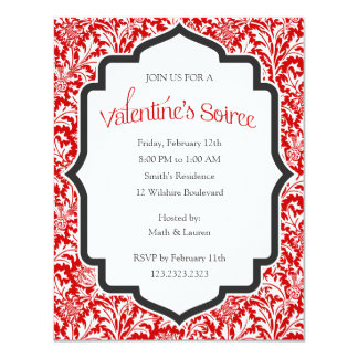 Valentine's Soiree Party Red Damask Background Card