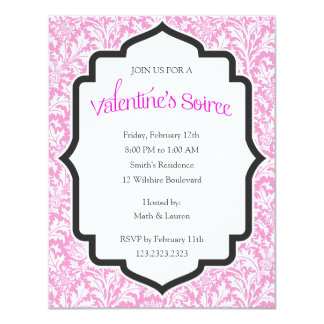 Valentine's Soiree Party with Pink Damask Backgrou Card
