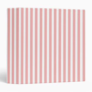 Valentines Stripes in Blush Pink and White 3 Ring Binders