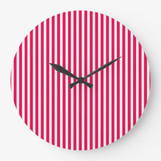 Valentines Stripes in Lipstick Pink and White Clocks