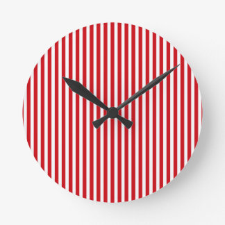 Valentines Stripes in Lipstick Red and White Clock