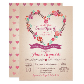 Valentine's Sweet Heart Baby Shower Invitation