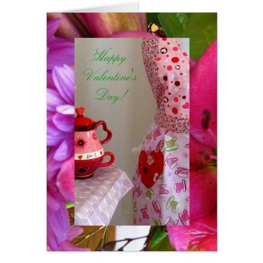 Valentines, Teacups and Flowers Card