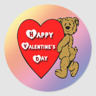 Valentine's Teddy Bear Classic Round Sticker
