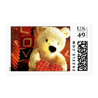 """""""Valentines Teddy Bear with Heart"""" Postage Stamps"""