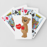 Valentines Teddy Bear with Roses & Loveheart Candy Bicycle Playing Cards