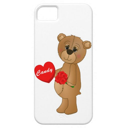 Valentines Teddy Bear with Roses & Loveheart Candy iPhone 5 Case