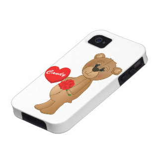 Valentines Teddy Bear with Roses & Loveheart Candy Case-Mate iPhone 4 Covers