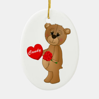 Valentines Teddy Bear with Roses & Loveheart Candy Ceramic Ornament