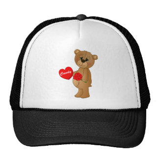 Valentines Teddy Bear with Roses & Loveheart Candy Trucker Hat
