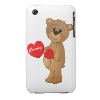 Valentines Teddy Bear with Roses & Loveheart Candy iPhone 3 Cover