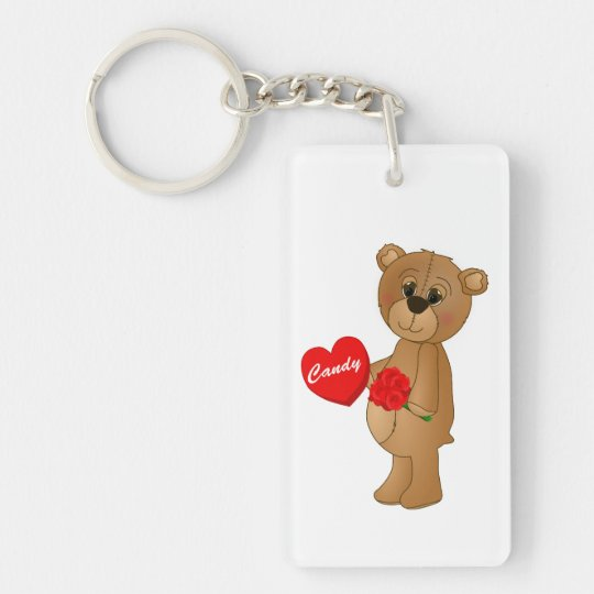 Valentines Teddy Bear with Roses & Loveheart Candy Keychain