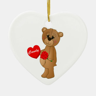 Valentines Teddy Bear with Roses & Loveheart Candy Christmas Ornament
