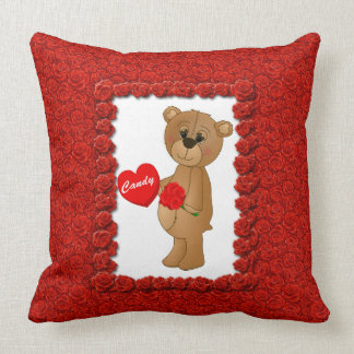 Valentines Teddy Bear with Roses & Loveheart Candy Throw Pillows