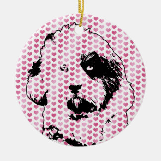 Valentines - Tibetan Terrier Silhouette Double-Sided Ceramic Round Christmas Ornament