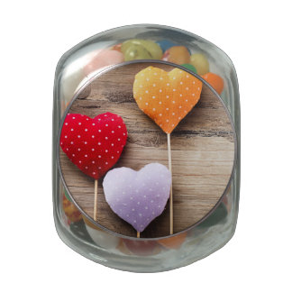 Valentine's Vintage Handmade Hearts on Wood Table Jelly Belly Candy Jar