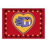 Hand shaped Valentine's Walrus card