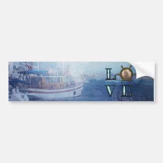 """Valentine's Watercolor Nautical """"Love"""" Bumper Sticker"""