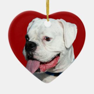Valentine's White Boxer dog ornament