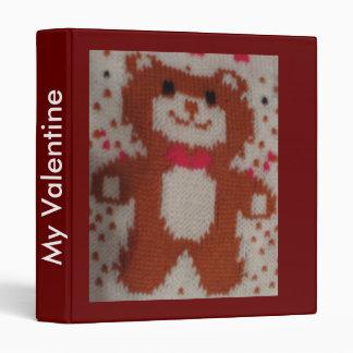 Valentines XMas Teddy Bear Kniting 3 Ring Binder