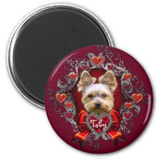 Valentine's Yorkie 2¼ Inch Round Magnet