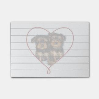Valentine's Yorkie puppies  Post it notes