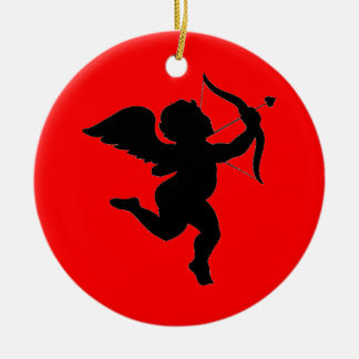 Valentines's Day Gift Cupid Silhoutte Ceramic Ornament