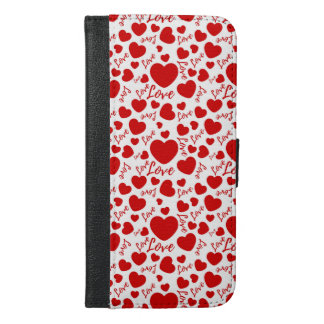 valenttines hearts with love text iPhone 6/6s plus wallet case