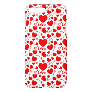 valenttines hearts with love text iPhone 8 plus/7 plus case