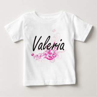Valeria Artistic Name Design with Flowers T-shirts