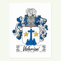 Valeriani Family Crest Postcard