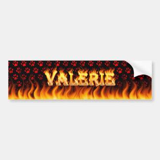 Valerie real fire and flames bumper sticker design car bumper sticker