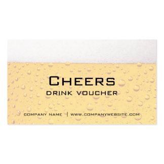 Vales de la bebida de la barra del restaurante o tarjeta de visita