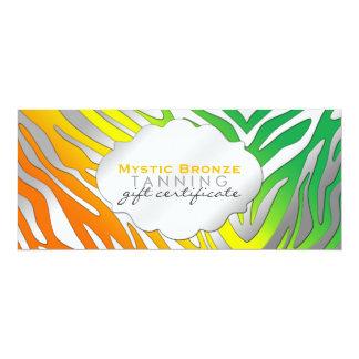 """Vales de neón del estampado de zebra del naranja y invitación 4"""" x 9.25"""""""