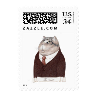Valet Cat Small Postcard Stamps