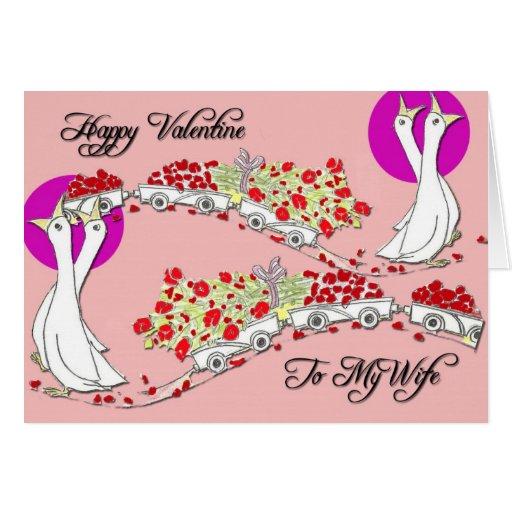 Valetine feliz a mi esposa tarjeta de felicitación