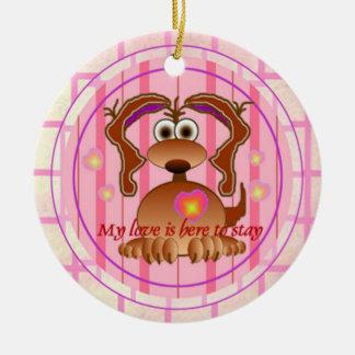 Valetines Day Dog Ceramic Ornament